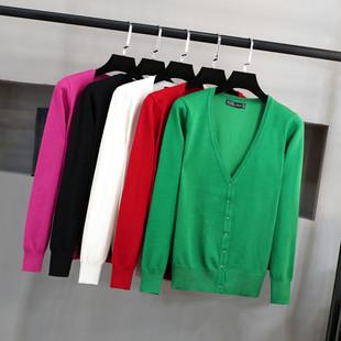 针织开衫女 V领潮短款毛衣显瘦大码外搭长袖春秋装小外套
