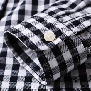 纯棉格子衬衫女长袖百搭黑白小方格全棉加绒厚衬衣秋季上衣外套寸