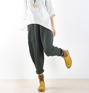 19春季原创女装保暖纯棉宽松加大码棉麻文艺吊裆卫衣长靴裤子