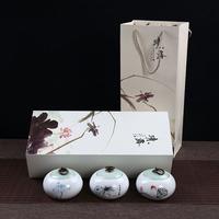 精致小罐绿茶陶瓷罐礼盒 空盒包装批发 半斤装 毛峰 密封红茶直销