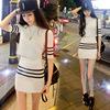 针织套装包臀裙小香风名媛显瘦两件套性感包臀短裙条纹套装裙