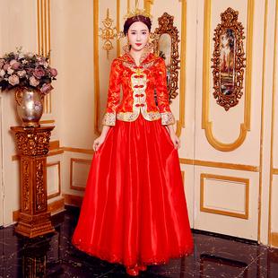 敬酒服2018秋冬中式新娘结婚礼服红色婚纱旗袍古装嫁衣秀禾服