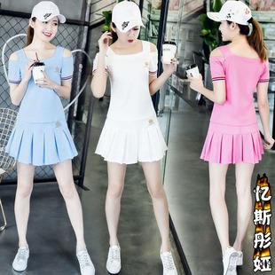 2019夏季短袖女士裤裙学生运动服羽毛球网球服幼师服两件套装