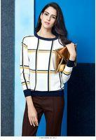 量身定制高端康赛妮纯山羊绒衫女式圆领简单条格套头100%山羊绒