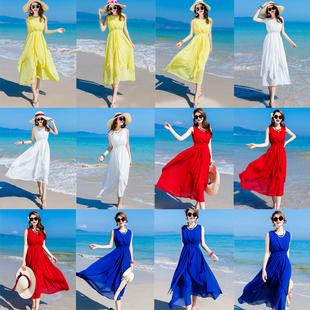 2018波西米亚海边沙滩大摆长裙夏季旅行女装度假雪纺连衣裙子