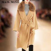 欧美时尚女装高端大牌 欧洲站毛领羊绒大衣中长款焦糖色毛呢外套
