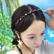 镶钻头发饰发夹韩国水钻成人发箍压发带齿防滑细头箍简约宽边发卡