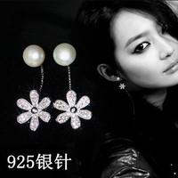 申敏儿同款 S925纯银小雏菊花朵百搭气质耳钉女 甜美珍珠后挂耳饰