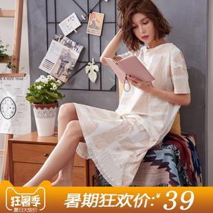 睡裙女夏季清新学生可爱宽松纯棉短袖大码孕妇睡衣可外穿夏天