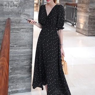 百洛安短袖V领连衣裙女2018夏季收腰显瘦圆点长款大摆裙