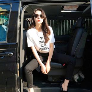欧美街头女装体恤时尚潮牌字母印花宽松白色t恤女短袖大码bf风夏