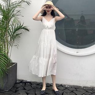 秋装2018 夏季大码女装高腰显瘦V领白色收腰吊带连衣裙子女
