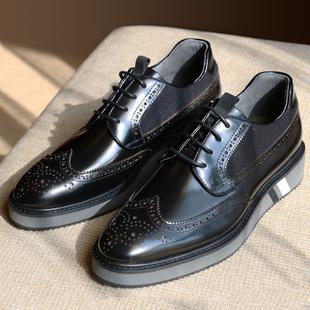 优100男鞋 高端欧美街头运动漆皮布洛克款式增高板鞋皮鞋厚底