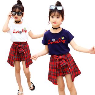 女童夏装短袖套装潮衣儿童格子中大童纯棉裤裙T恤两件套