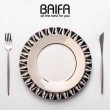 北欧ins家用盘子碟子餐具叉套装组合创意网红欧式西餐牛排餐盘