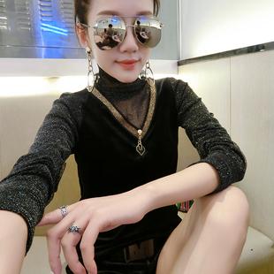 秋冬女士高领加绒加厚蕾丝衫拼接网纱t恤衣服小衫百搭长袖打底衫
