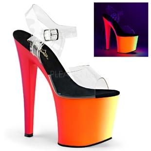 美国Pleaser彩虹色厚底防水台荧光鞋透明高跟凉鞋性感系带凉鞋女