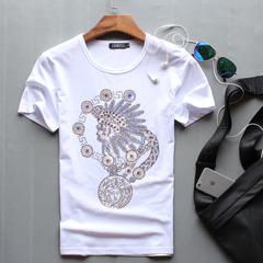 夏季男士T恤印第安人头像烫钻短袖圆领青年小怪兽纯棉半袖潮t