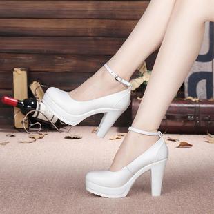 春季模特旗袍t台走秀白色防水台高跟鞋粗跟演出真皮圆头单鞋大码