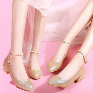 平底伴娘鞋金色舞台演出鞋圆头大码婚纱鞋粗跟平跟孕妇婚鞋新娘鞋