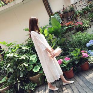 小溜家2019春秋季名媛高端定制白色立体钩花蕾丝连衣裙长裙子