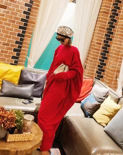 2018秋季原创文艺个性高领纯色不规则下摆长款宽松显瘦连衣裙