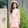 女童秋季气质淑女针织连衣裙中大童粉色公主裙圆领中长款毛衣