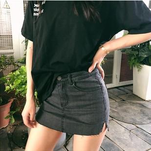 欧美高腰弹力包臀牛仔短裙两侧开叉半身裙防走光裙裤女