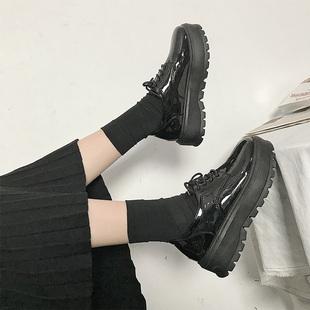 英伦风女鞋春秋季复古厚底单鞋高跟漆皮系带百搭松糕软妹小皮鞋女