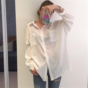 韩范宽松bf白色棉麻长袖衬衫女薄夏季百搭透视中长款防晒开衫上衣