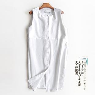 夏无袖大码宽松女式背心长衫上衣衬衫中长款雪纺衫连衣裙打底衫