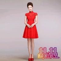 红色复古新娘敬酒服结婚时尚短款蕾丝高腰孕妇旗袍晚礼服2014新款