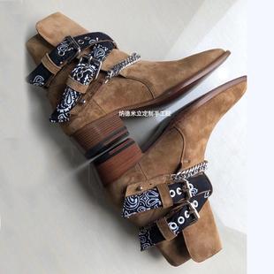 夏季欧美链条CHELSEA BOOT切尔西靴男真皮尖头马丁靴男英伦风潮流
