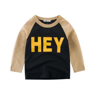 2件童装秋季男童长袖纯棉薄t恤衫宝宝时尚上衣打底衫