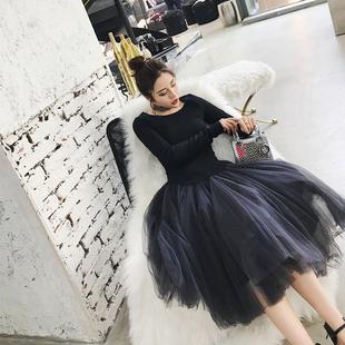秋冬2018女黑天鹅复古中长款显瘦蕾丝公主连衣裙子丝绒小黑裙