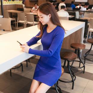秋季内搭显瘦黑色中长款针织打底衫女式加大码包臀长袖毛衣薄