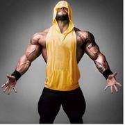 健美健身室内连帽坎肩背心潮人型男夏季无袖弹力运动男汗