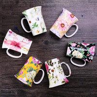 创意马克杯 陶瓷杯家用办公水杯咖啡杯子 骨瓷杯 大容量满花 包邮