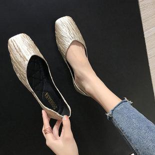平底单鞋女2018秋季百搭方头浅口网红豆豆鞋时尚软底瓢鞋
