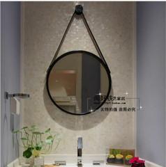 北欧洗手间镜子挂镜浴室镜化妆镜壁挂圆镜装饰镜卫生间大圆镜子