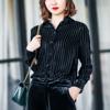欧美复古丝绒衬衫女格纹翻领黑色衬衣 高端百搭长袖纯色显瘦衬衣