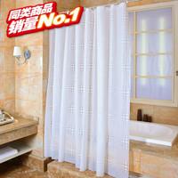 新款加厚防水防霉浴室浴帘白色球PEVA卫生间隔断帘洗澡间门帘