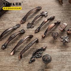易嘉 欧式复古红古铜橱柜门拉手 中式仿古美式刻花抽屉衣柜门把手