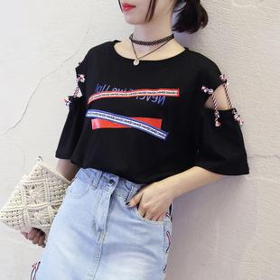 网红衣服女酷短袖t恤街拍款上衣嘻哈潮ins女生帅气街头潮流学生夏