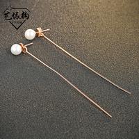 韩版个性款S925纯银长线珍珠耳环时尚百搭女款纯银耳环生日礼物