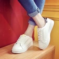16年新款平底板鞋小白鞋女系带笑脸鞋学生休闲运动鞋厚底女鞋子潮