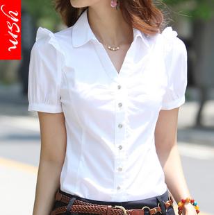 棉新白衬衫女夏短袖职业装工作服正装工装大码半袖衬衣女装ol