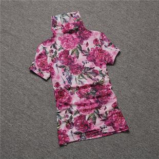 欧洲站短袖T恤女2018秋装花色大码高领半袖上衣网纱打底衫