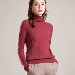 2018秋冬款100纯羊绒衫女高领麻花毛衣堆堆领针织衫短款显瘦