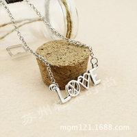 17新款正品明星EXO集体款 圆形&爱心LOGO 标志 银色LOVE字母项链